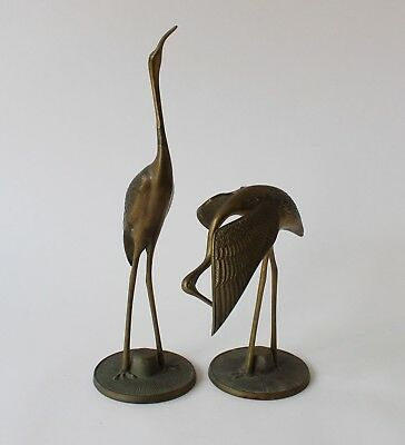 Vintage Retro 60s/70s PAIR OF BRASS HERON BIRDS Figurines/Ornaments STORKS/IBIS