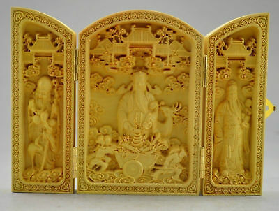 100% Box wood Highly Difficulty handCarved God Of Wealth Statue Folding Box