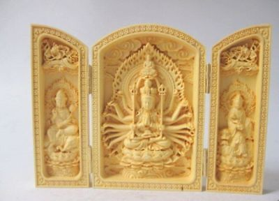 Decorated Boxwood Highly Difficulty Carved Floding Box Buddha Monkey King