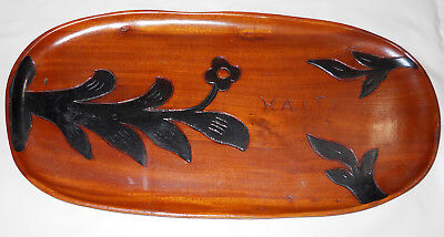 Vintage Haitian Hand-Carved Handcrafted Wooden Serving Tray Platter