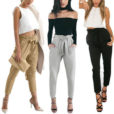 Women Sexy Casual Skinny Ripped Pants High Waist Stretch Slim Pencil Trousers