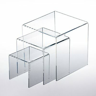 """Adorox Top Quality (Set Of 3) Clear Acrylic Display Riser (3"""", 4"""", 5"""") Jewelry S"""
