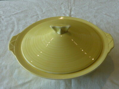 Crown Ducal Ware England Lidded Dish Vegetable Tureen Yellow Art Deco Lovely