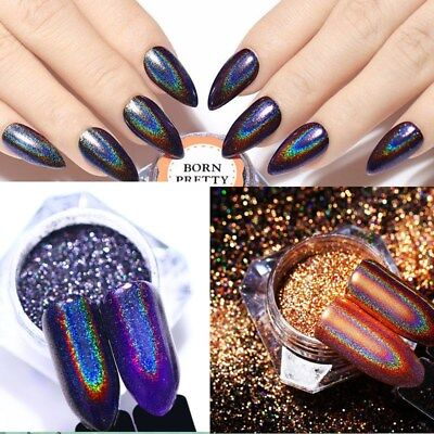 2 Boxes BORN PRETTY Holographic Nail Art Glitter Laser Mirror Powder Dust 0.5g