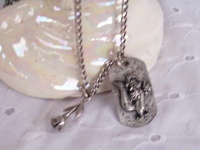 Pepe Le Pew  Necklace And Rose Pendant Charm - Pewter