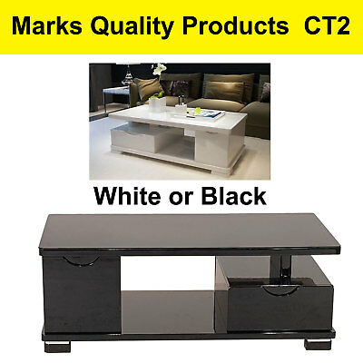 Coffee Table White or Black Glass Top Modern Style Wood Polyurethane Finish CT2