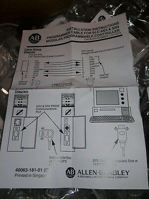 ALLEN BRADLEY PROGRAMMER CABLE 1747-CP3 CP3/A SLC 500 Compactlogix, MicroLogix
