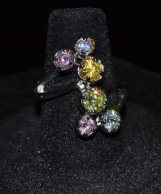 Unbranded - Silvertone Faceted Multi-Color Stones Wrap Ring - Size 7