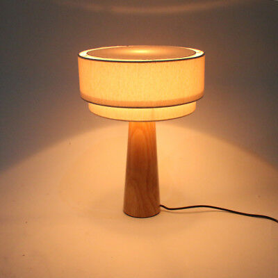 Table Lamp Simple Solid Wood Mini Bedside Led Cone Lampshade Wooden Des NEW