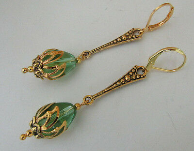VINTAGE ANTIQUE STYLE PERIDOT GREEN DROP EARRINGS  Art Deco Nouveau