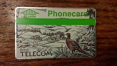 British Telecom Old Phonecard BT 40 Units Collectible Pheasant Snow Christmas