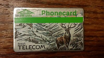 British Telecom Old Phonecard BT 100 Units Collectable Christmas Deer Stag