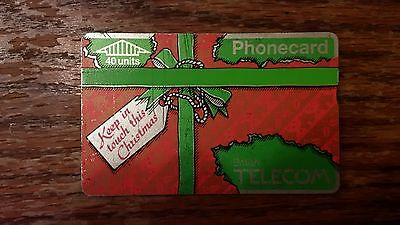 British Telecom Old Phonecard BT Phone Card 40 Units Old Collectible Christmas