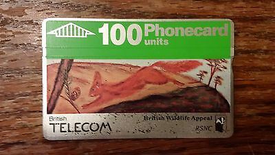British Telecom Old Phonecard BT Wildlife 100 Units Collectible Squirrel RSNC