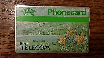 British Telecom Old Phonecard BT Phone Card 40 Units Collectible Flower Daffodil