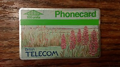 British Telecom Old Phonecard BT Phone Card 100 Units Collectible Flowers