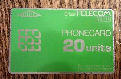 British Telecom Old Phonecard BT Phone Card 20 Units Collectible