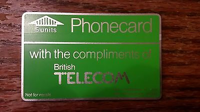 British Telecom Old Phonecard BT Phone Card 5 Units Collectible Gift