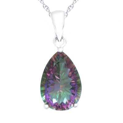 4.5ct Luxury Fire Rainbow Topaz Pendent Solid 925 Genuine Sterling Silver