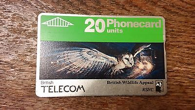 British Telecom Old Phonecard BT Wildlife 20 Units Collectable Night Owl RSNC