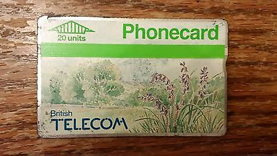 British Telecom Old Phonecard BT Phone Card 20 Units Collectible Flowers Trees