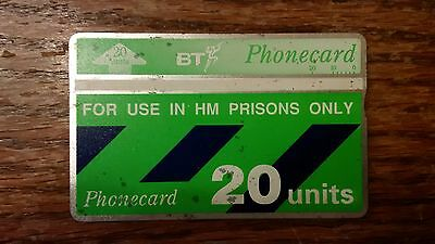 British Telecom Old Phonecard BT Phone Card 20 Units Collectible HM Prisons