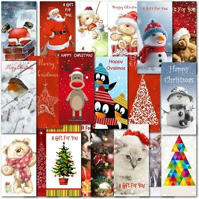Christmas Money Wallets Pack of 10 Mixed Adult Traditional or Childrens Cute