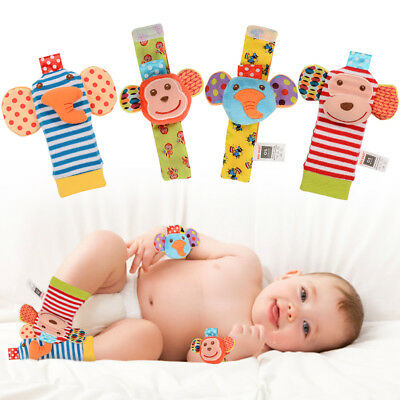 US 4pcs Cute Animal Infant Baby Kids Hand Wrist Bell Foot Sock Rattles Soft Toy