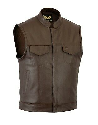 Mens Sons of Anarchy Real Leather Brown Waistcoat Motorcycle Biker Vest UK