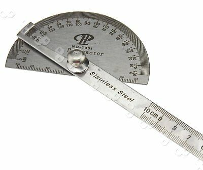 0-180 DEGREE + STAINLESS STEEL + PROTRACTOR 100mm Arm Measure Ruler Angle Gauge