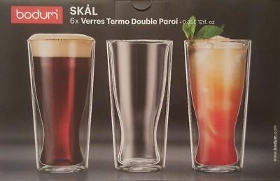 Bodum Skal Double Wall Thermo Glasses 350ml Set of 6 Cups Coffee Drinks Beer