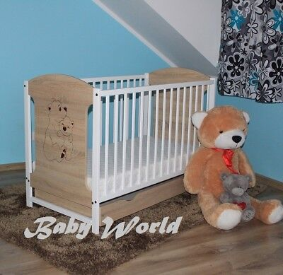 Miki Sonoma/white Baby Cot With Drawer + Mattress And Extra Barrier To Choose
