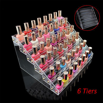 Hot Acrylic 6-tier Nail Polish Display Stand Rack Organizer Holder Storage Clear