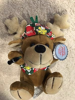 Collectible Coca Cola Brand Bean Bag Plush Reindeer #0168-NWT-Wearing Vest & Hat