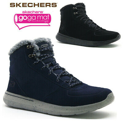 Mens Skechers Leather Goga Max Warm Fur Biker Winter Ankle Boots Shoes Size