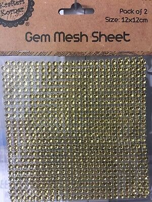 NEW - GEM MESH SHEET - GOLD  - 12 cm x 12 cm - 2 SHEETS