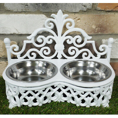 Stainless Steel Bowls & White Cast Iron Raised Dog Cat Food Water Feeding Dishes