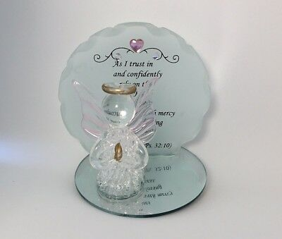 Blown Glass Angel On Mirror Figurine Clear Hand Blown Ps 32;10 Trust Collectible