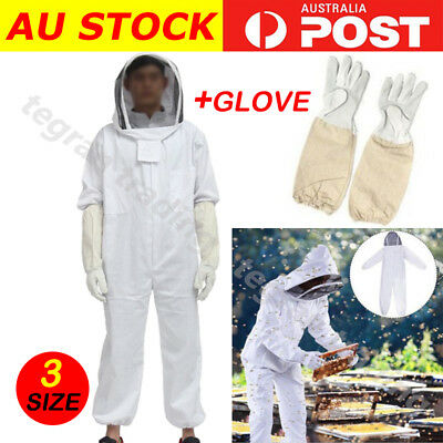 Heavy Duty L/XL Full Body Beekeeping Suit Bee Suit Ventilated Keeping Gloves