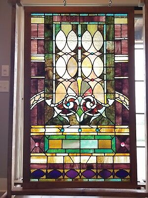 Beautiful Antique Jeweled Stained Glass Window Very Large Many Jewels