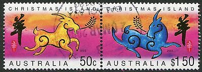 2003 Christmas Island Lunar Year - Year of the Goat Joined Pair Set Used