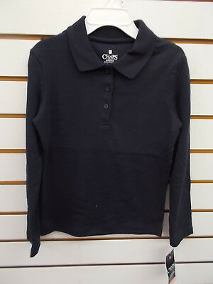 Girls Chaps $24 Navy Long Sleeved Uniform Polo Size 6 - 6X