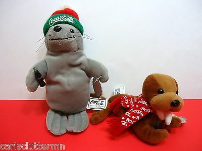 Coca-Cola Collectible Bean Bag Plush Lot of 2 Walrus 1997 Seal 1998 Coke Brand