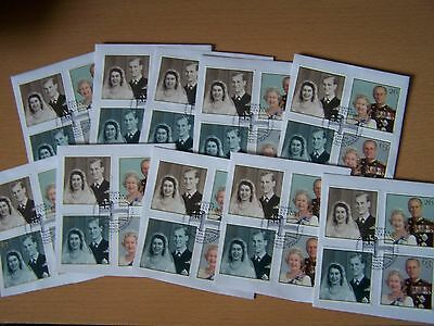 Great Britain,1997,golden Wedding,set Of 4,f/used On Piece, X 10 Sets,excellent.