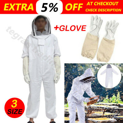 Beekeeper Beekeeping Protective Veil Suit Smock Bee Hat Gloves Full Body Set