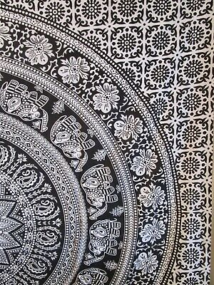 "India Black & White Batik Rectangular Elephant Tablecloth Tapestry 57"" x 78"""