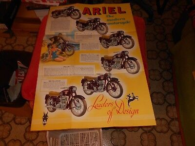 Moto  Ariel  1958  Depliant  Brochure  Poster  The  Modern  Motorcycle Originale