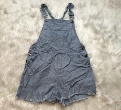 J.Jill 100% Linen Distressed Denim Jean Boho Overall Shorts Romper Womens M