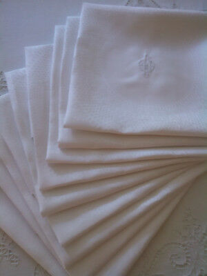 9 Fine Vintage Irish Linen Dinner Napkins / Large / Monogrammed