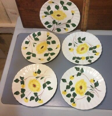 Set Of Five Plates , Yellow , Blue Ridge Pottery Hand Painted Southern Potteries